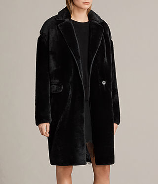 Donne Cappotto in shearling Jale (Black) - product_image_alt_text_3
