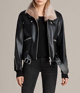 Mujer Royale Leather Biker Jacket (Black)
