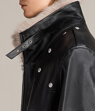 Damen Velo Leather Biker Coat (Black) - product_image_alt_text_2