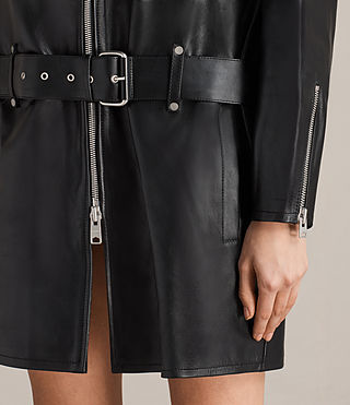 Damen Velo Leather Biker Coat (Black) - product_image_alt_text_3