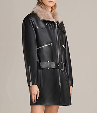 Damen Velo Leather Biker Coat (Black) - product_image_alt_text_4