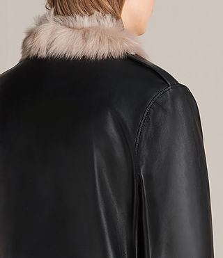 Damen Velo Leather Biker Coat (Black) - product_image_alt_text_5