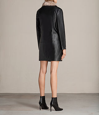 Damen Velo Leather Biker Coat (Black) - product_image_alt_text_6