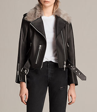 Mujer Grift Leather Biker Jacket (Black)
