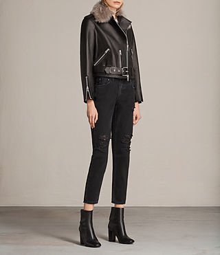 Donne Grift Leather Biker Jacket (Black) - product_image_alt_text_3