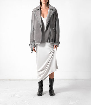 Donne Trip Shearling Biker Jacket (Light Grey)