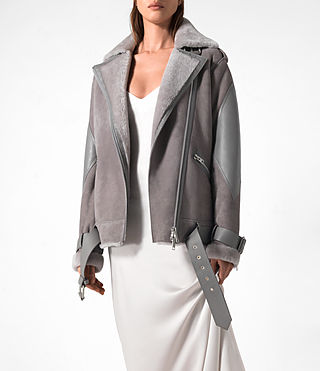 Donne Trip Shearling Biker Jacket (Light Grey) - product_image_alt_text_2
