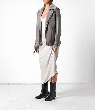Donne Trip Shearling Biker Jacket (Light Grey) - product_image_alt_text_3