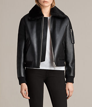 Mujer Kinney Leather Bomber Jacket (Black)