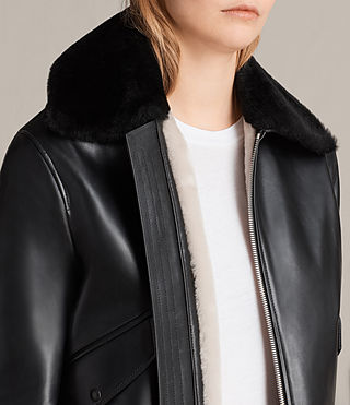 Women's Kinney Leather Bomber Jacket (Black) - Image 2