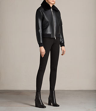 Women's Kinney Leather Bomber Jacket (Black) - Image 3