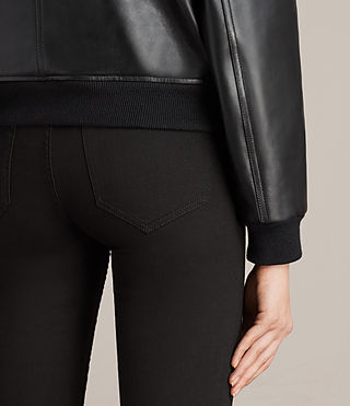 Women's Kinney Leather Bomber Jacket (Black) - Image 5