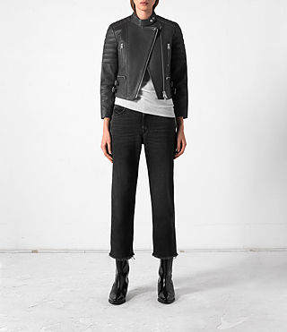 Donne Slint Leather Biker Jacket (Slate Grey) -