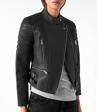Donne Slint Leather Biker Jacket (Slate Grey) - product_image_alt_text_2