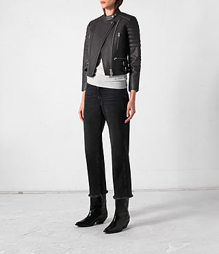Donne Slint Leather Biker Jacket (Slate Grey) - product_image_alt_text_3