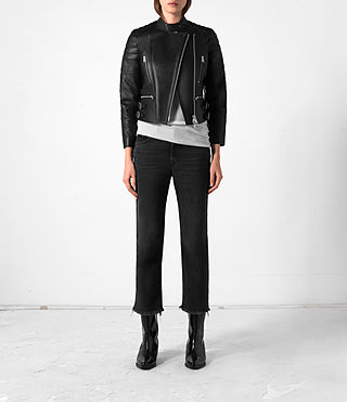 Mujer Slint Leather Biker Jacket (Black) -