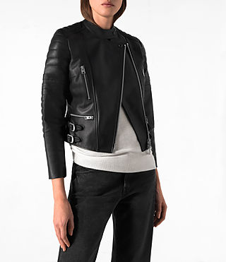 Mujer Slint Leather Biker Jacket (Black) - product_image_alt_text_2