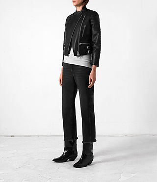 Mujer Slint Leather Biker Jacket (Black) - product_image_alt_text_3
