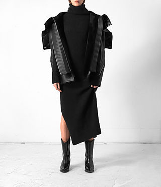 Mujer Comet Leather Cape (Black) -