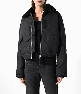Women's Beat Bomber Jacket (Black) - product_image_alt_text_2