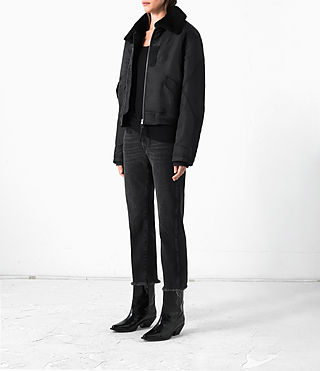 Women's Beat Bomber Jacket (Black) - product_image_alt_text_3