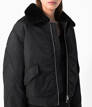 Women's Beat Bomber Jacket (Black) - product_image_alt_text_4