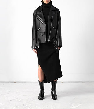 Mujer Halo Oversized Leather Biker Jacket (Black)