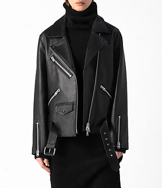 Donne Halo Oversized Leather Biker Jacket (Black) - product_image_alt_text_2
