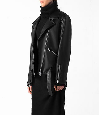Donne Halo Oversized Leather Biker Jacket (Black) - product_image_alt_text_3