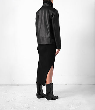 Donne Halo Oversized Leather Biker Jacket (Black) - product_image_alt_text_4