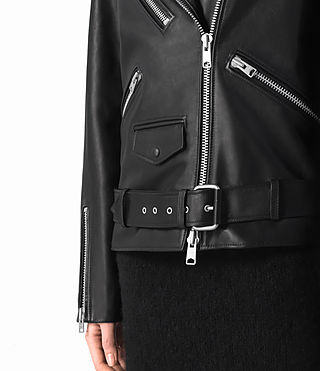 Donne Halo Oversized Leather Biker Jacket (Black) - product_image_alt_text_5