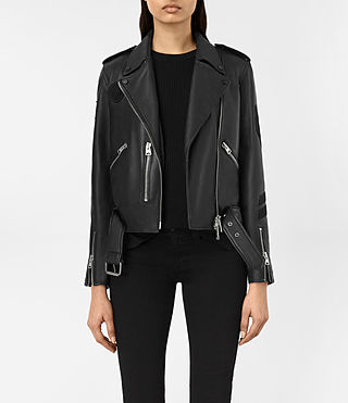 Femmes Badge Balfern Leather Biker Jacket (Black)