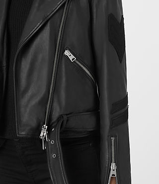 Womens Badge Balfern Leather Biker Jacket (Black) - product_image_alt_text_4