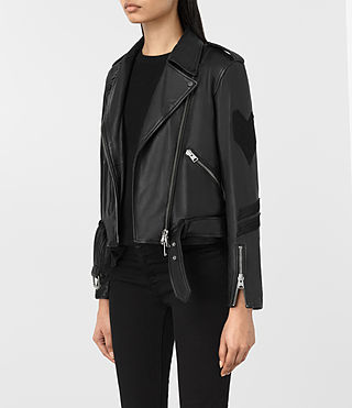 Womens Badge Balfern Leather Biker Jacket (Black) - product_image_alt_text_6