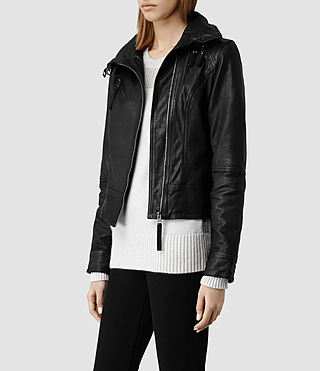 Womens Belvedere Leather Jacket (Black) - product_image_alt_text_2