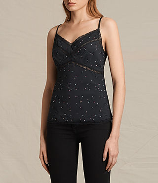 Womens Star Print Cami (Black) - product_image_alt_text_3