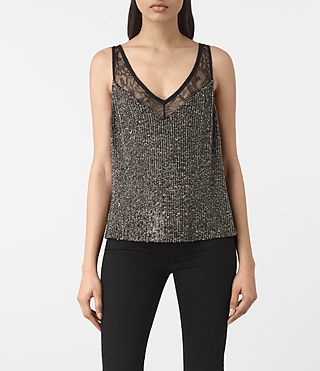 Womens Aivren Embellished Top (Gunmetal/Black)