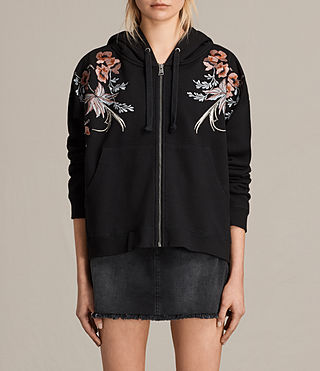 Damen Margot Embroidered Hoody (Washed Black)