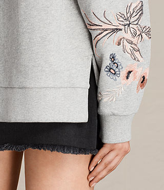 Damen Margot Embroidered Sweatshirt (Light Grey)
