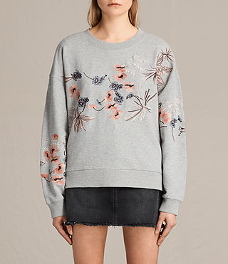 Womens Margot Embroidered Sweatshirt (Light Grey) - product_image_alt_text_2