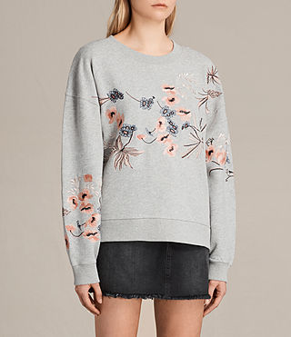 Women's Margot Embroidered Sweatshirt (Light Grey) - product_image_alt_text_3