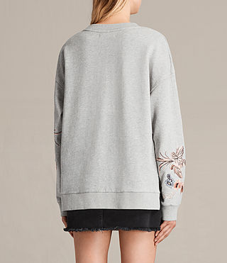 Women's Margot Embroidered Sweatshirt (Light Grey) - product_image_alt_text_4