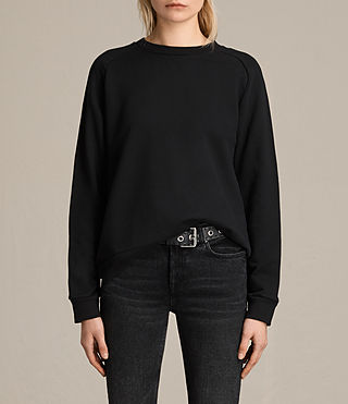Womens Yara Laced Sweatshirt (Black) - product_image_alt_text_1