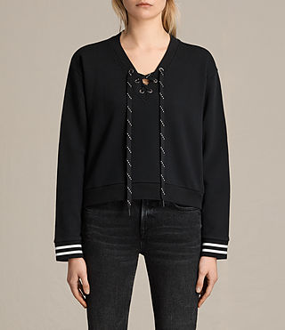 Womens Rili Rib Sweatshirt (Jet Black)