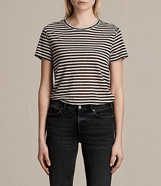 Damen Lake Stripe T-Shirt (Black/Chalk) -