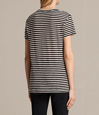 Womens Lake Stripe Tee (BLACK/CHALK) - product_image_alt_text_3
