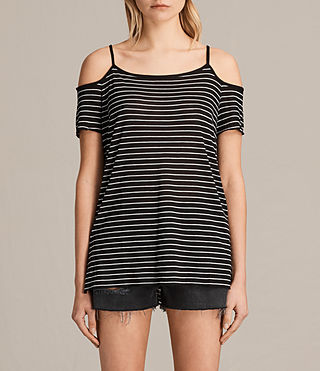 Damen Tyra Stripe Top (BLACK/OYSTER WHITE) -