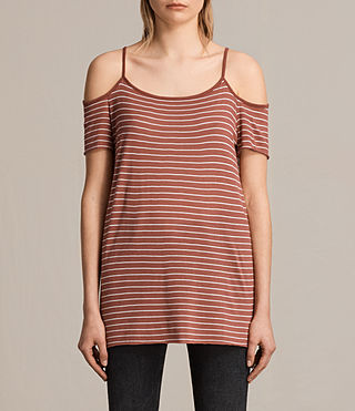 Women's Tyra Stripe Top (CORAL RED/OYSTER) -