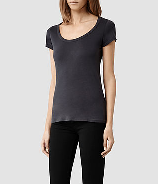 Womens 스탬프 티셔츠 (Washed Black) - product_image_alt_text_2