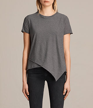 Womens Daisy Stripe Tee (WASHEDBLACK/OYSTER) - product_image_alt_text_1